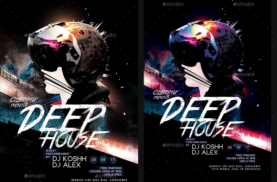 deep house party poster flyer invitation template