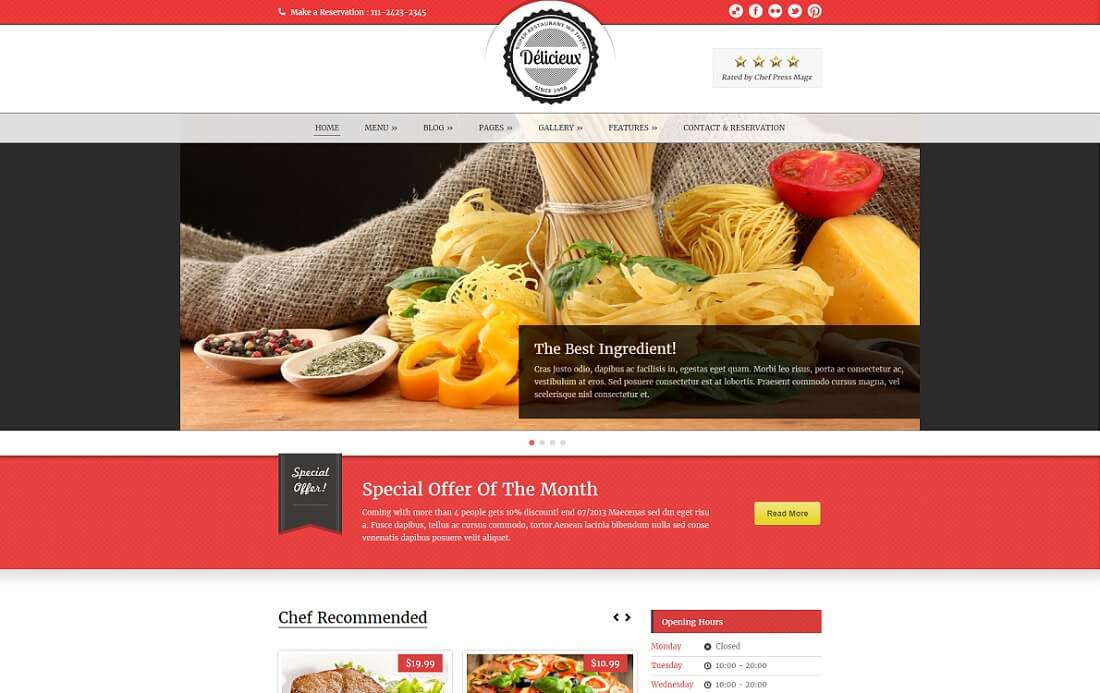 delicieux catering wordpress theme