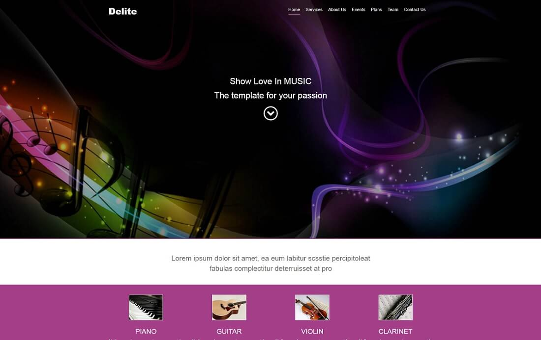 delite free music website template