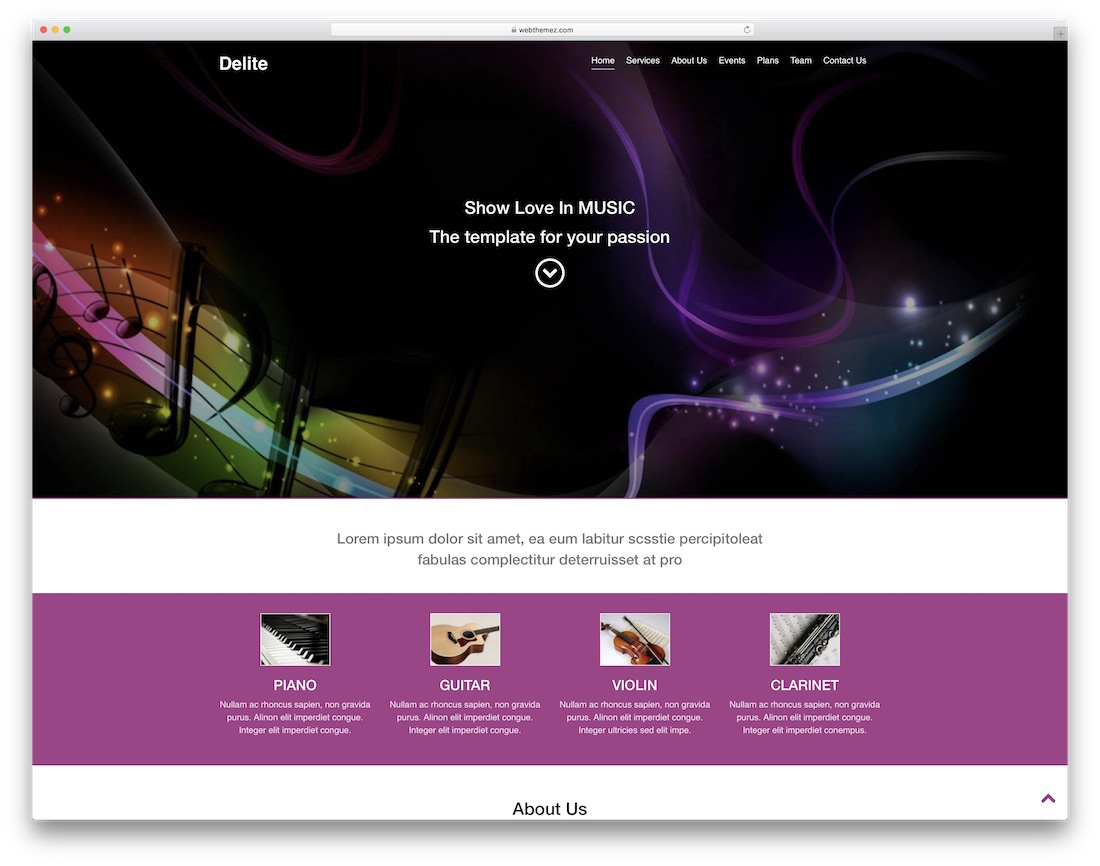 delite html5 free event website template