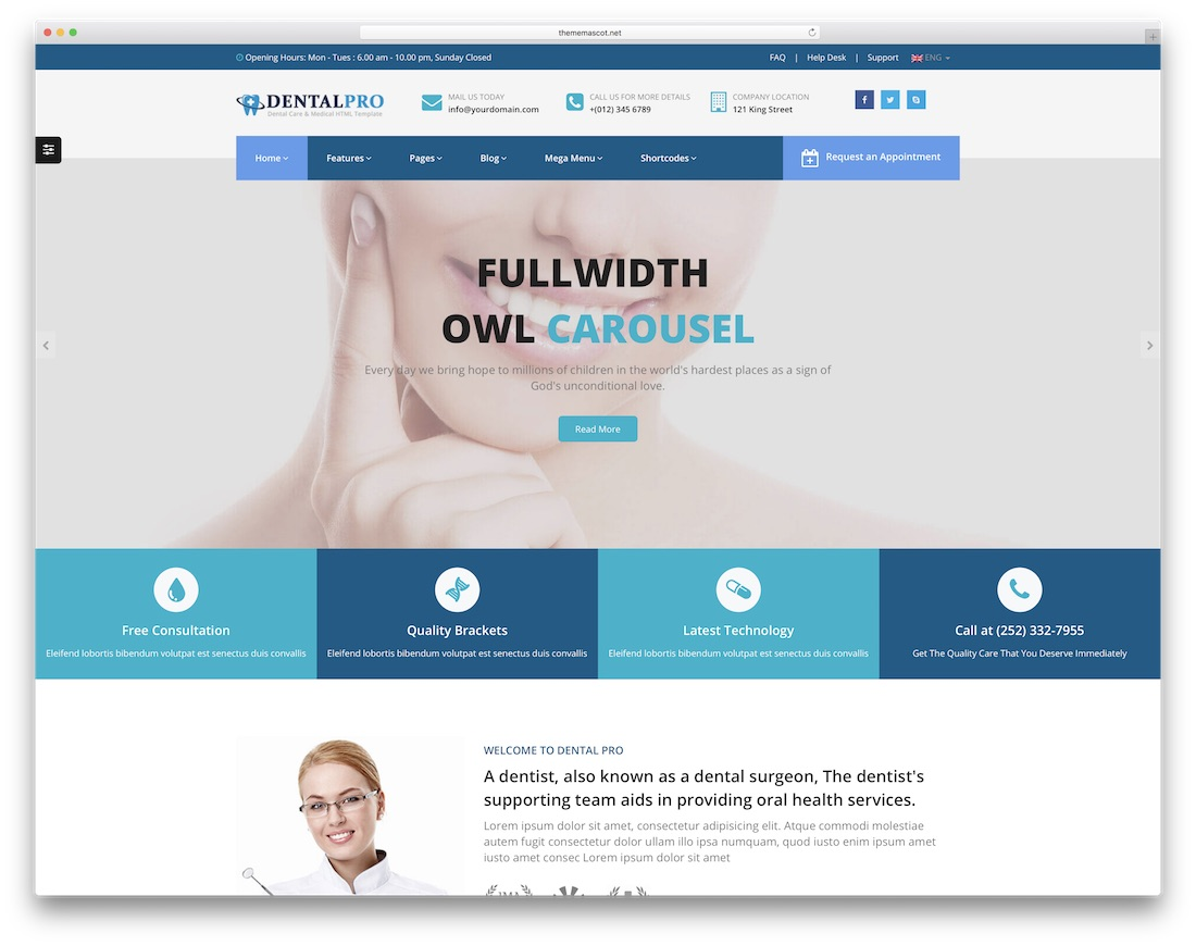 dental pro doctor website template