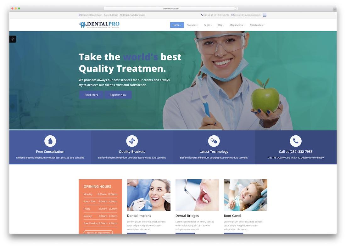 dental pro medical website template