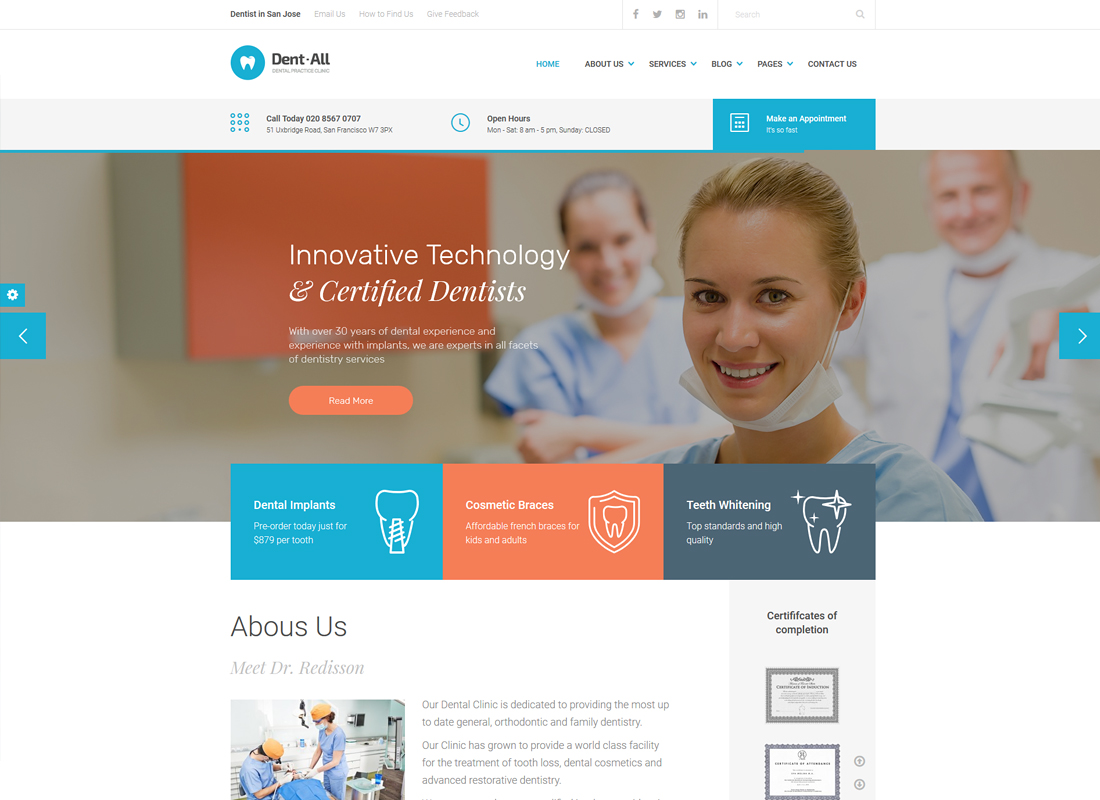 Dent-All   Medical, Dental Clinic, Healthcare, Dentist WordPress Theme