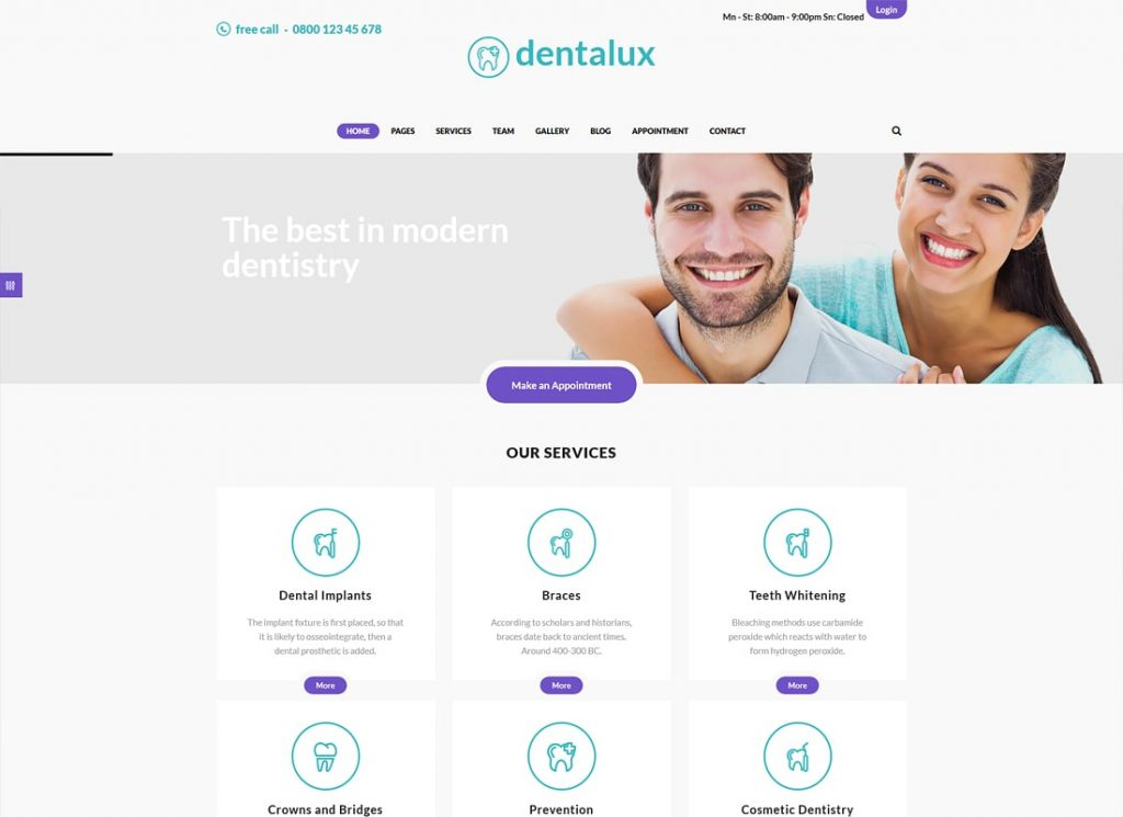 Dentalux | A Dentist Medical & Healthcare WordPress Theme