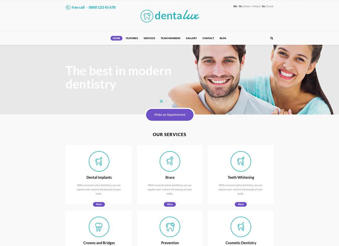 Dentalux | A Dentist Medical & Healthcare WordPress Theme