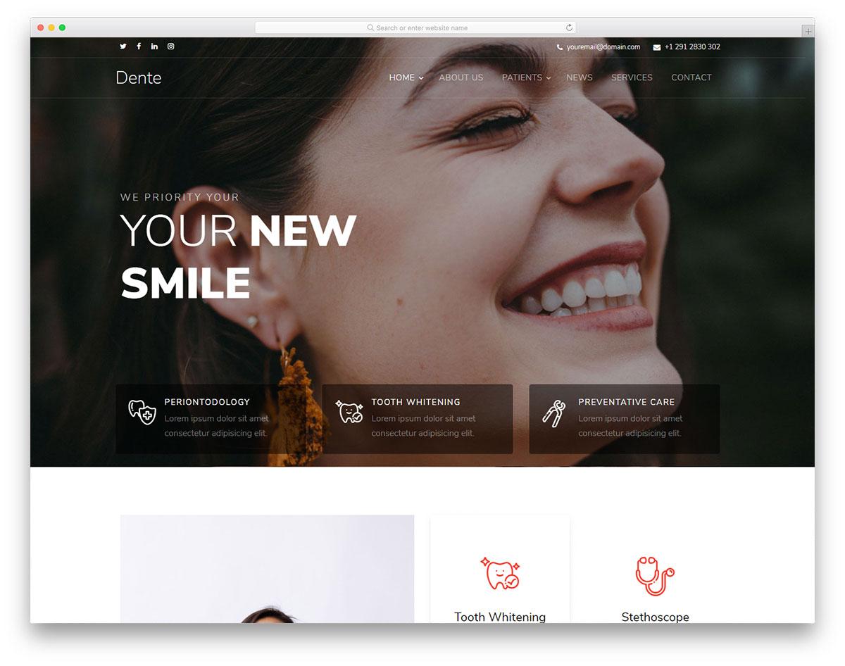 Скачать бесплатно html шаблон Dente