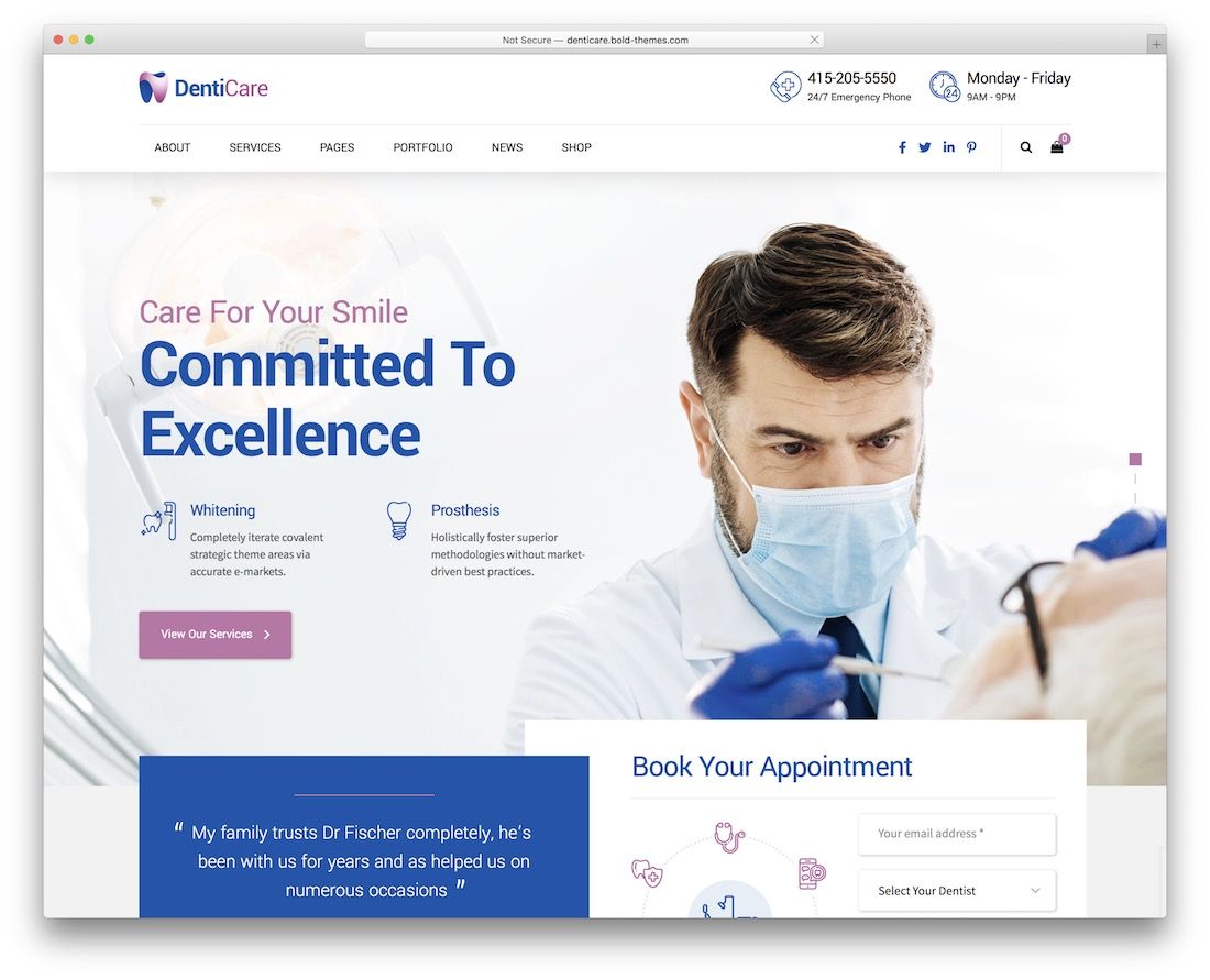 denticare medical wordpress theme