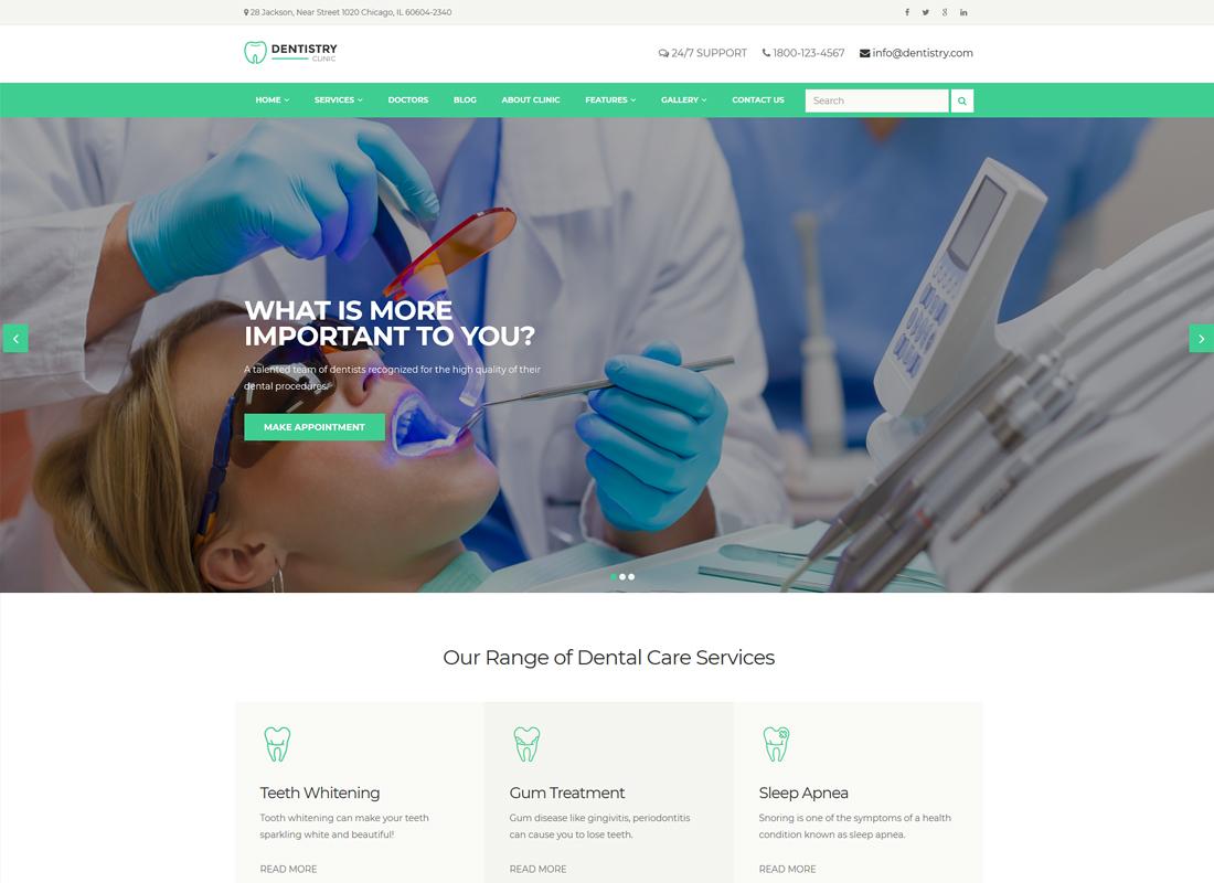 Dentistry | Dental Clinic & Dentist WordPress Theme