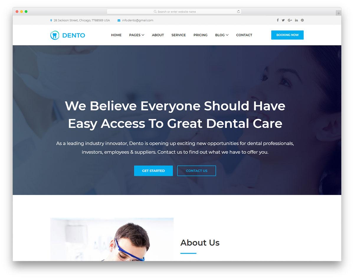 Скачать бесплатно html шаблон Dento