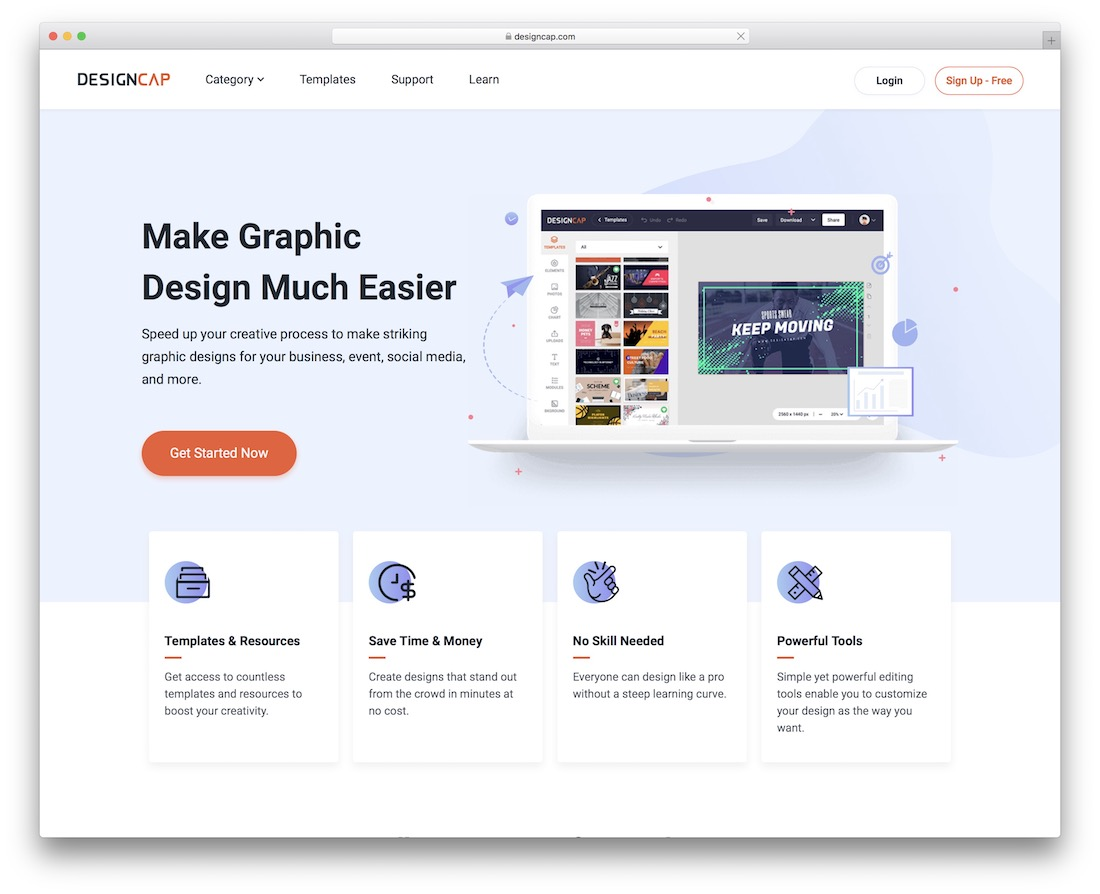 designcap tool for creating infographics