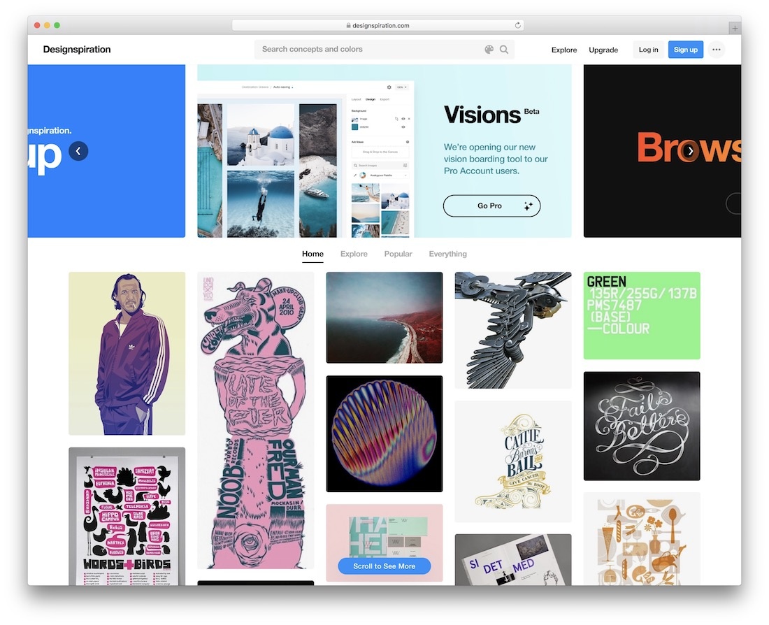 designspiration showcase inspiration site for web design