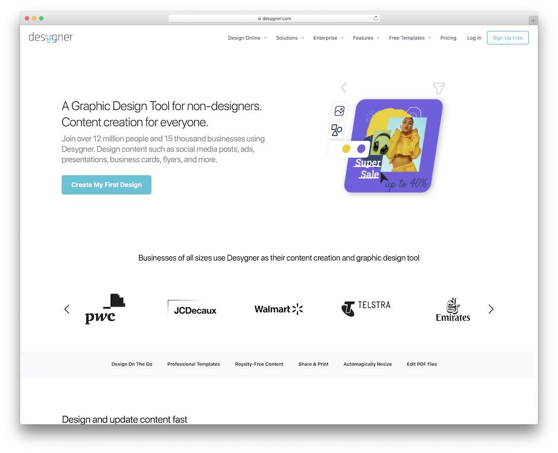 desygner social media graphics design tool