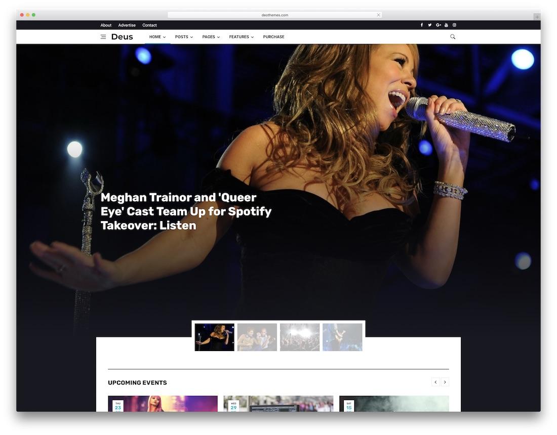 deus musician website template
