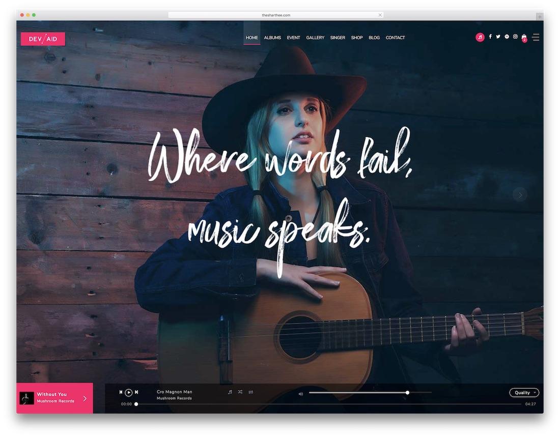 devaid musician website template