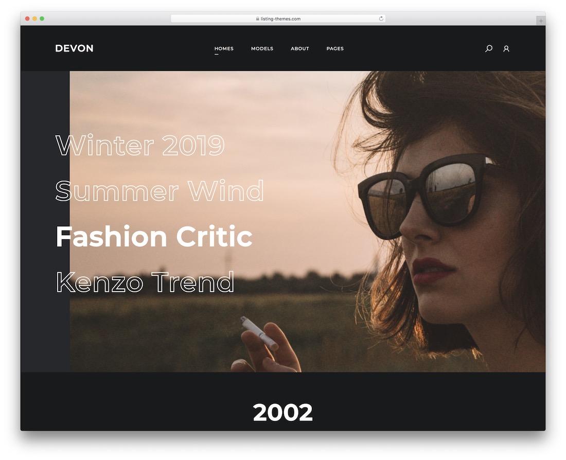 devon model agency wordpress theme