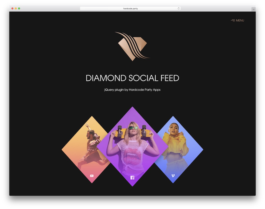 diamond social feed jquery plugin social media