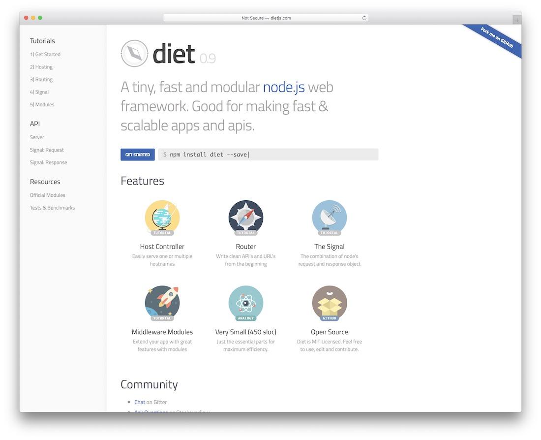 diet node js framework