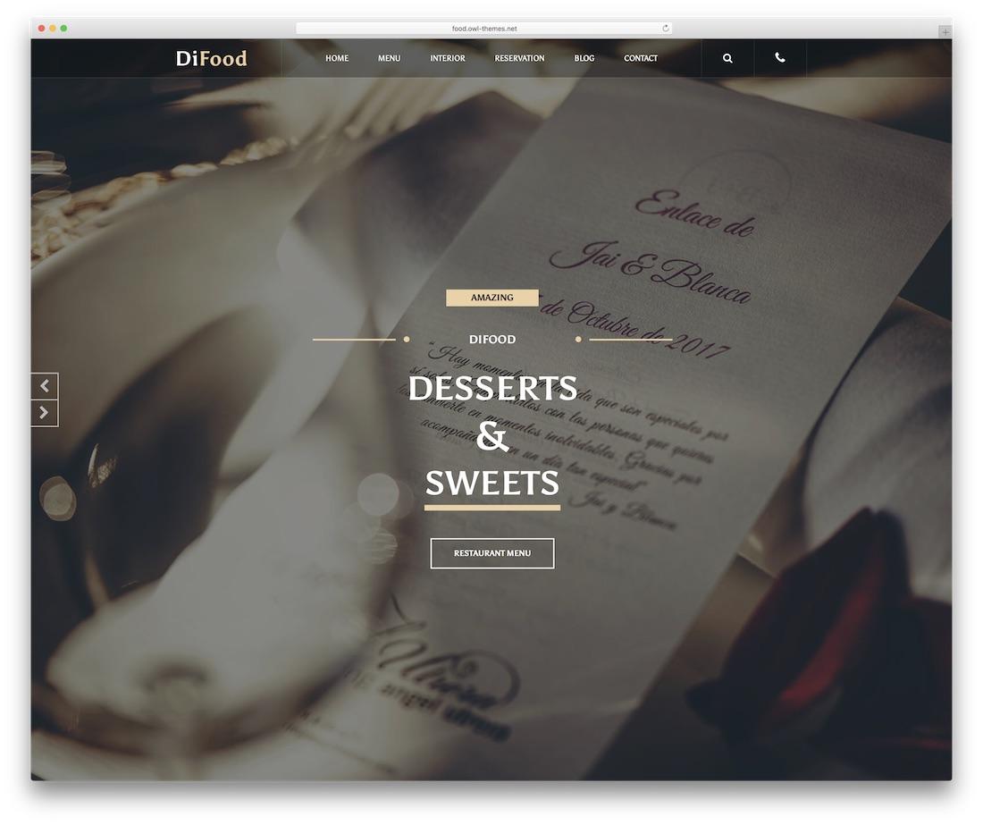 difood food website template