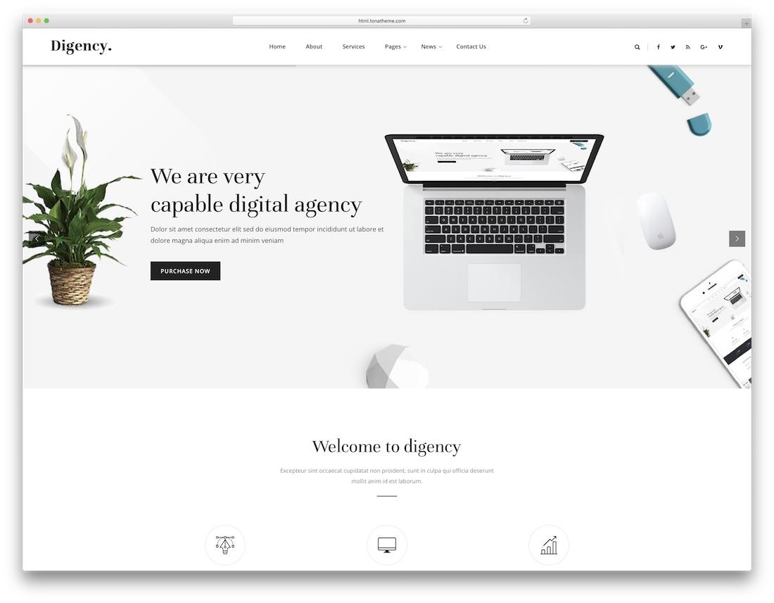 digency marketing website template
