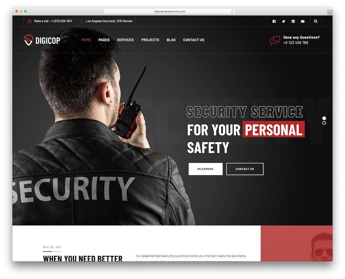 digicop security service wordpress theme