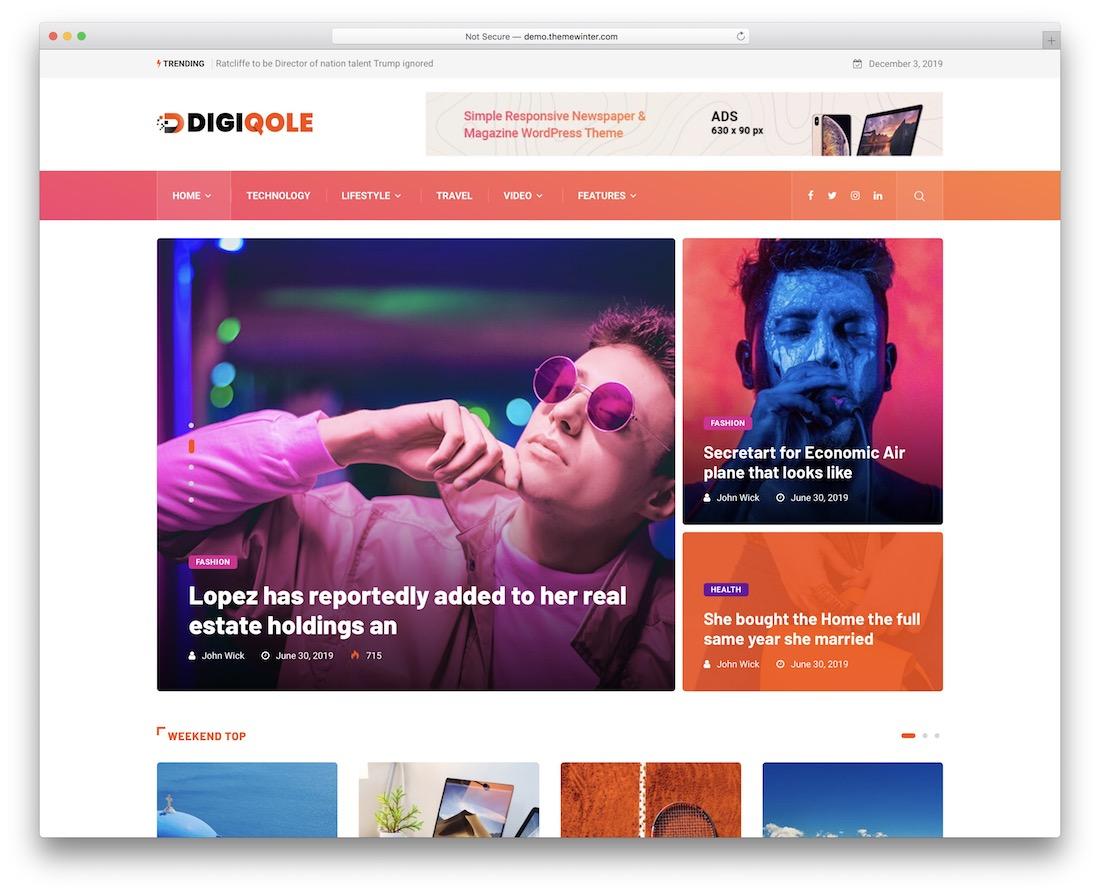 digiqole viral news wordpress theme