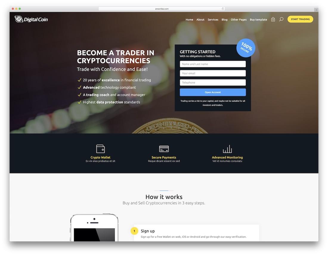 digital coin marketing website template