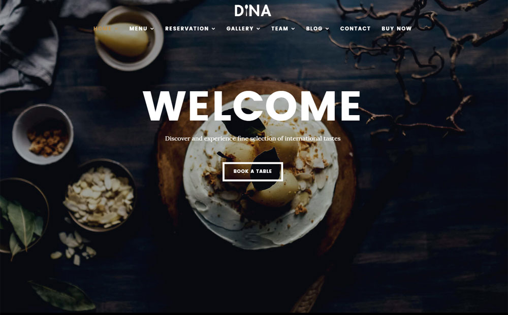 Dina Restaurant Bar Cafe WordPress Theme