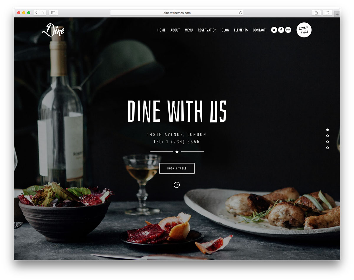 Dine theme restaurant wordpress