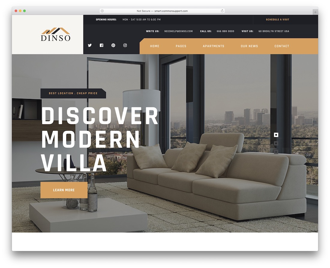 dinso property rental wordpress theme