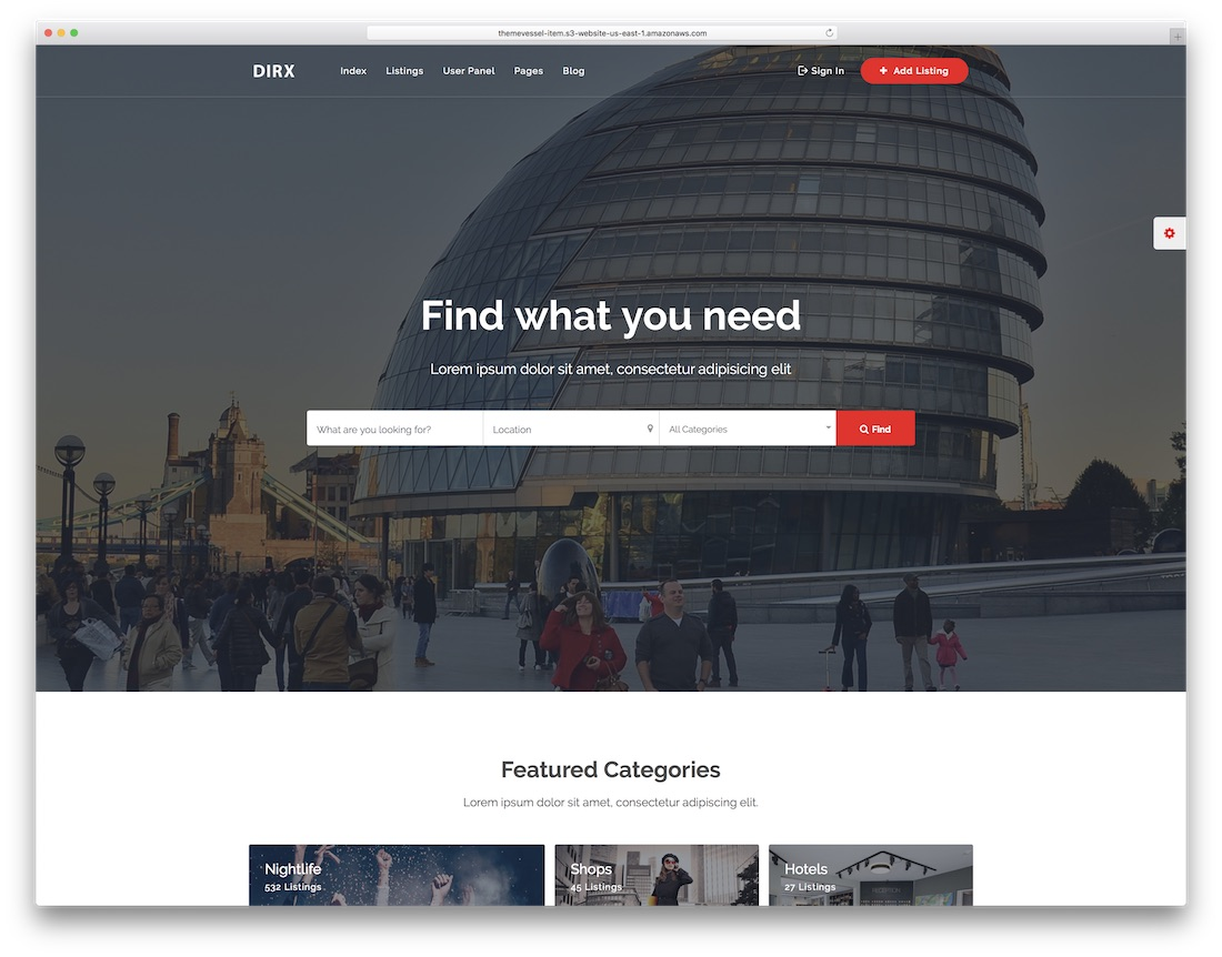 dirx directory website template