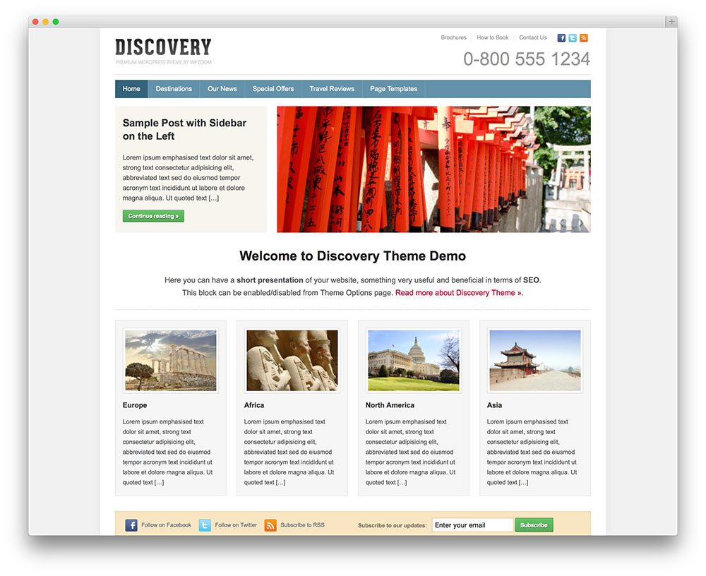 discovery classic WordPress travel theme