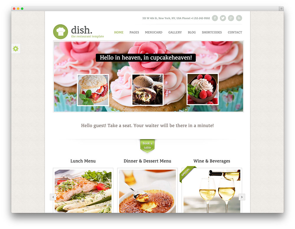 dish restaurant WordPress theme