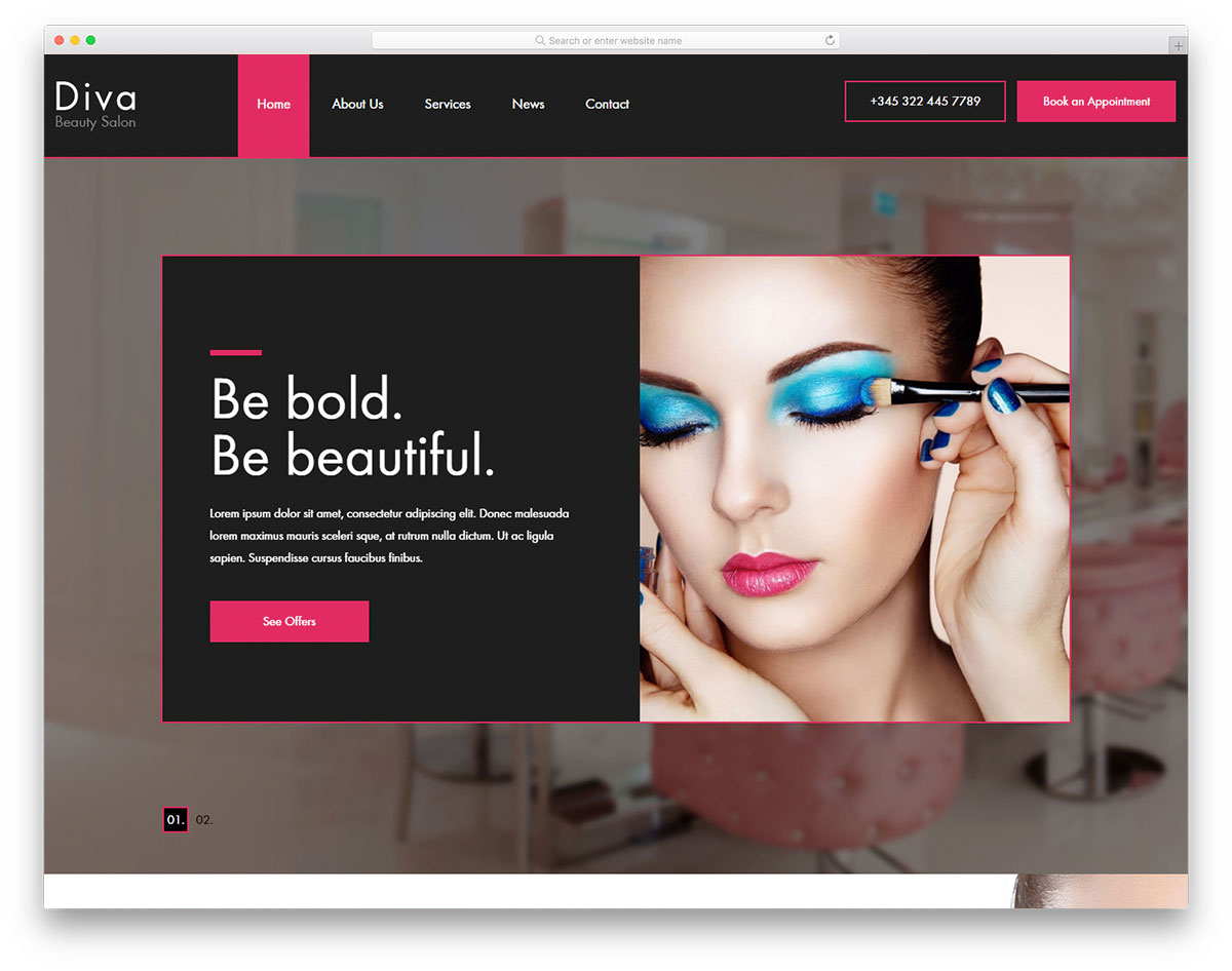 Diva Free Beauty Salon Website Template 2019 Colorlib