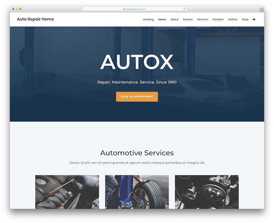 divi automotive website template