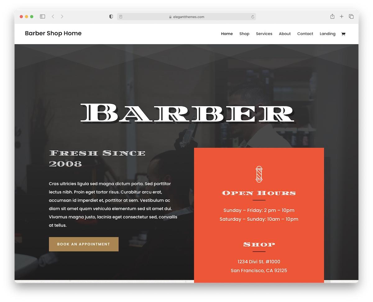 divi barber wordpress theme