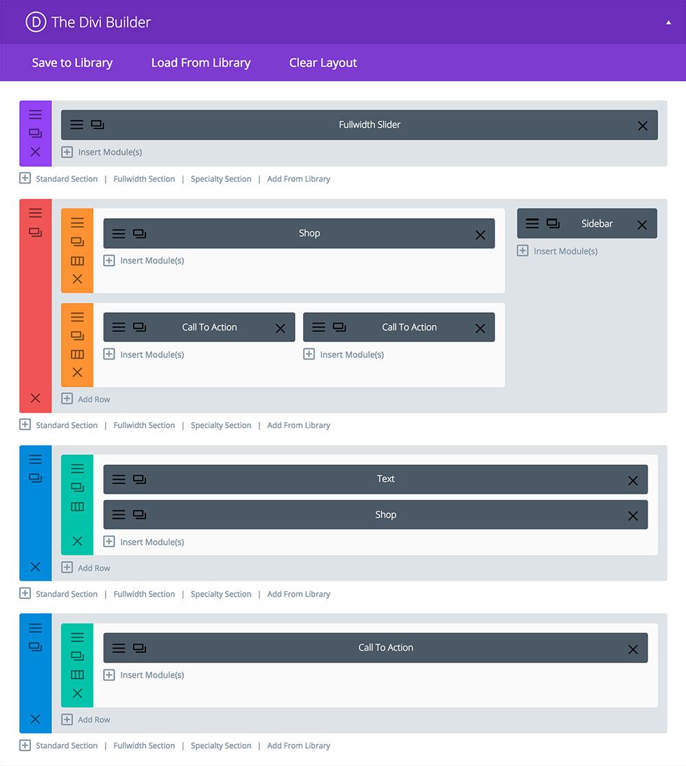 diseños de página de divi-builder