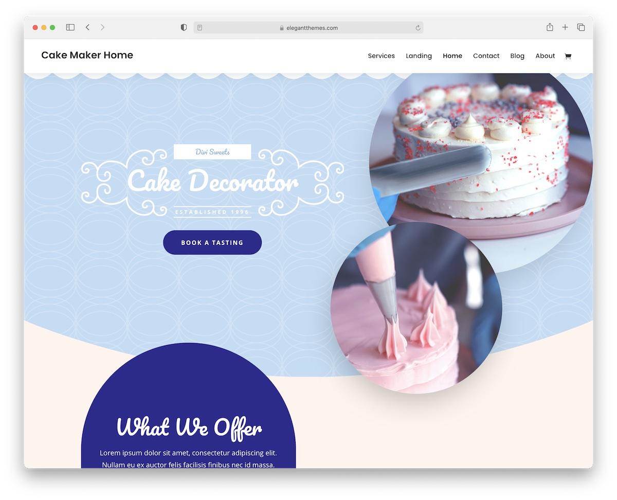 divi cake shops wordpress theme