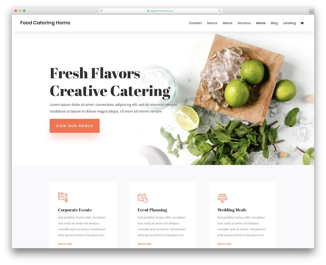 divi catering website template
