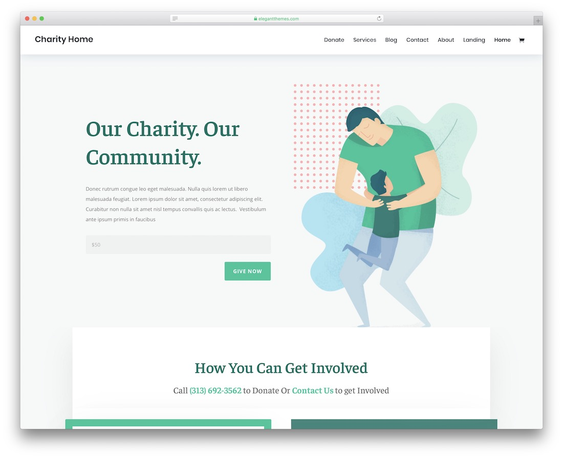 divi charity website template