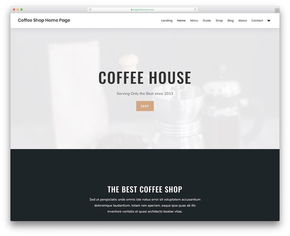 divi coffee shop wordpress theme