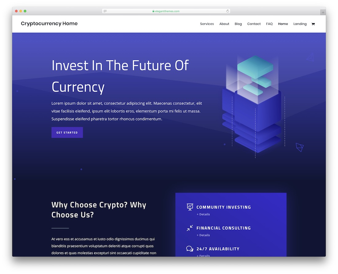 divi cryptocurrency website template