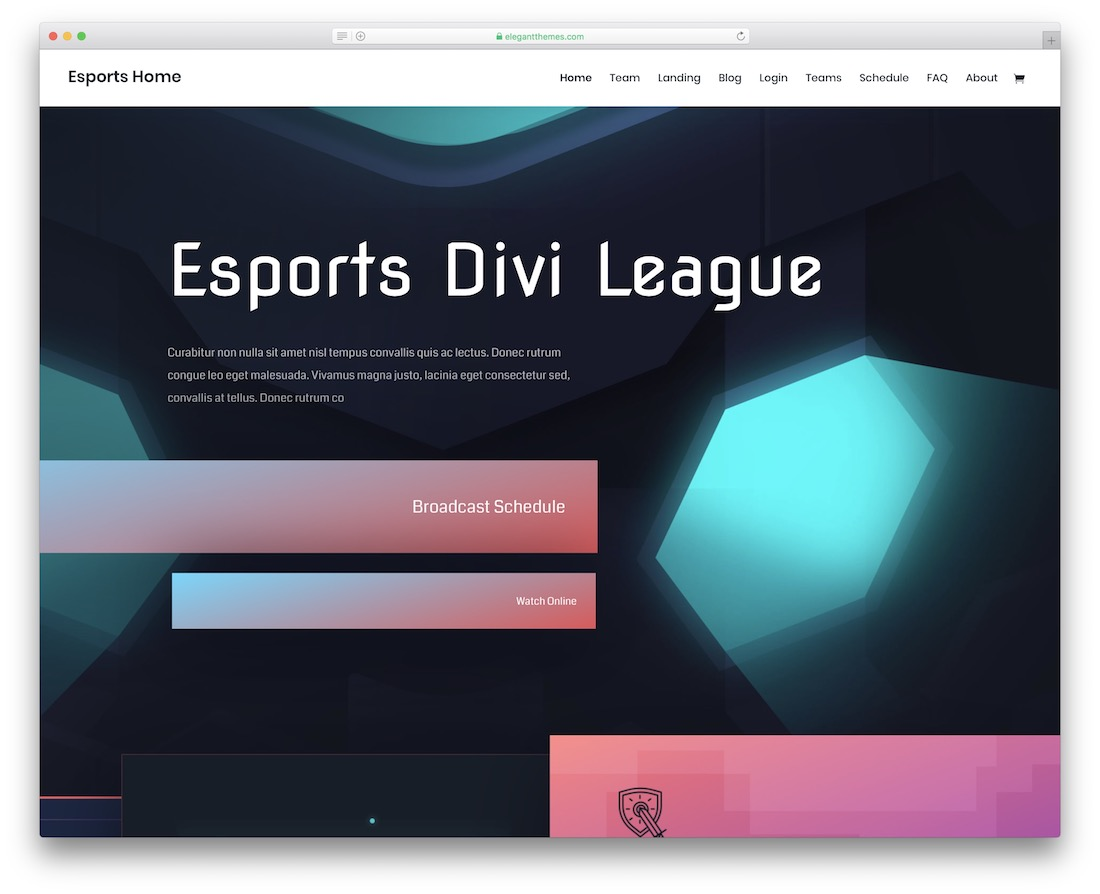 divi esports website template design