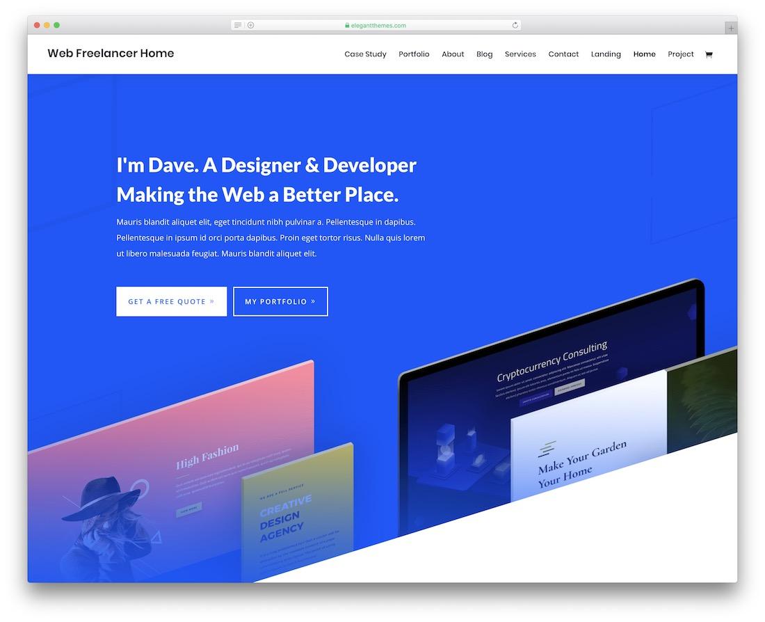 divi freelancer website template