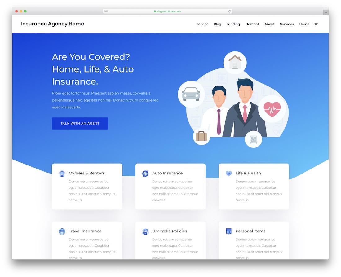 divi insurance website template