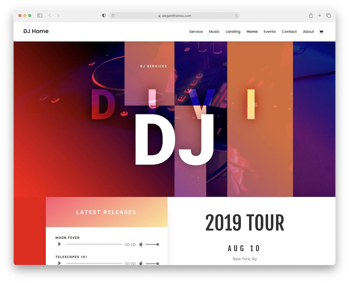 divi music wordpress theme