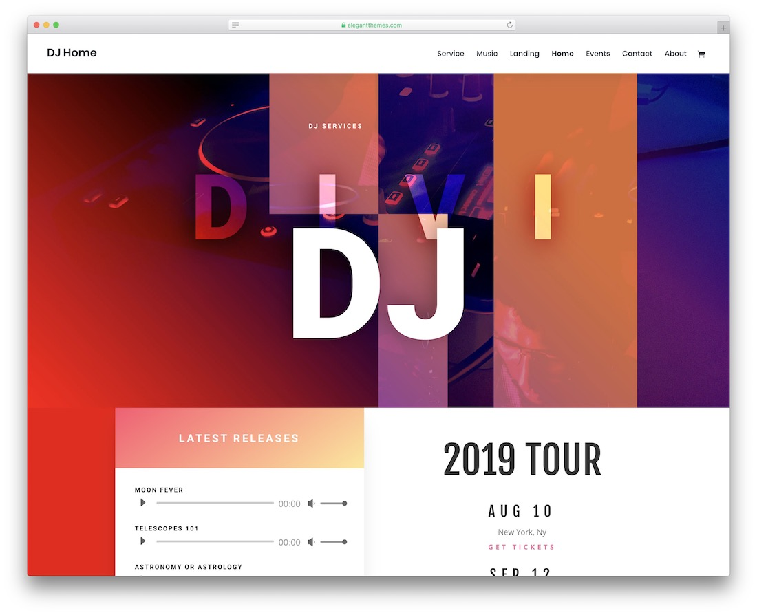 divi musician website template
