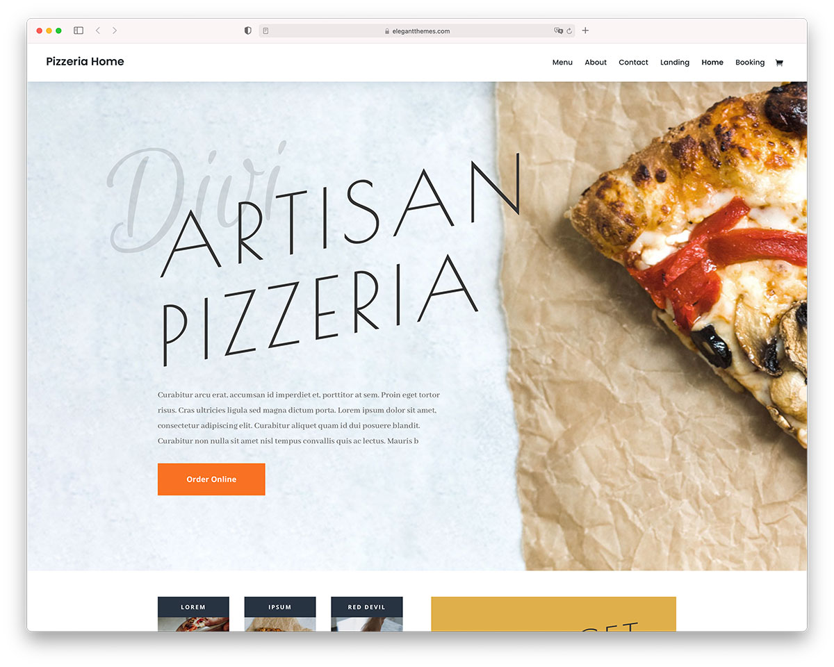 divi pizzeria WordPress theme