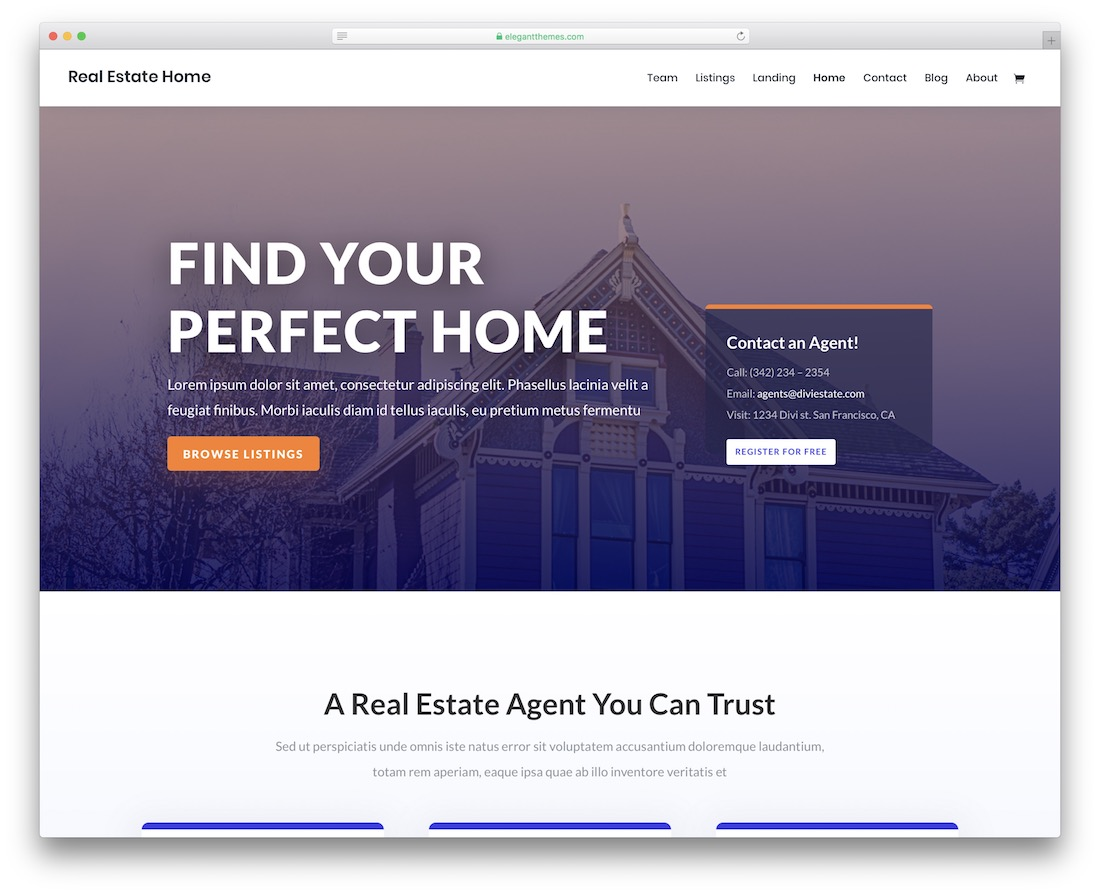 divi real estate website template