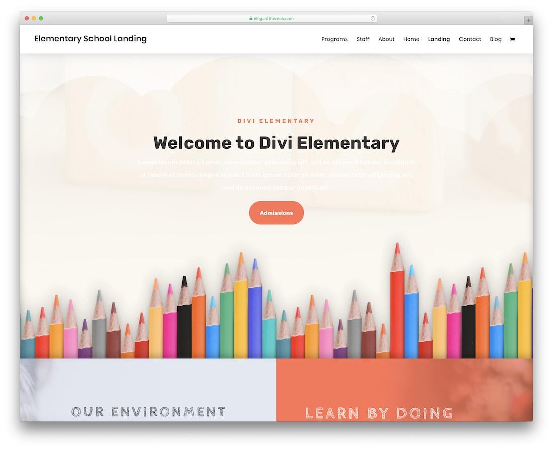 divi school website template