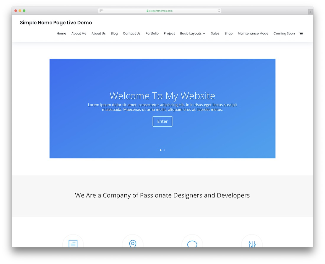 divi simple bootstrap template